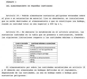 DS43 MINSAL ALMACENAMIENTO ALCOHOL GEL PEQUEÑAS CANTIDADES